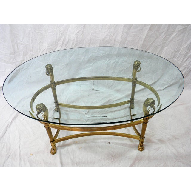 Vintage Brass Lion Head Cocktail Table For Sale - Image 5 of 7