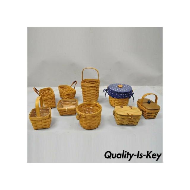 Vintage 1990s Longaberger Basket Lot Wine Berry Wall Pocket Lid Round - 9 Pieces For Sale - Image 13 of 13