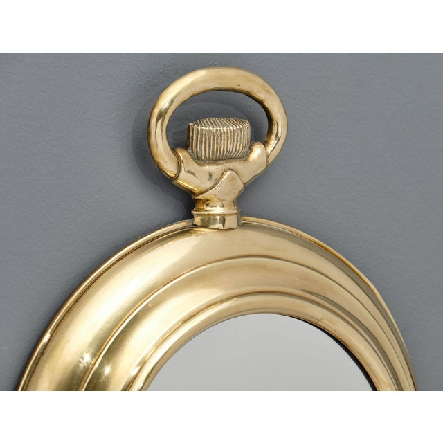 Metal Vintage Brass Pocket Watch Mirror For Sale - Image 7 of 10