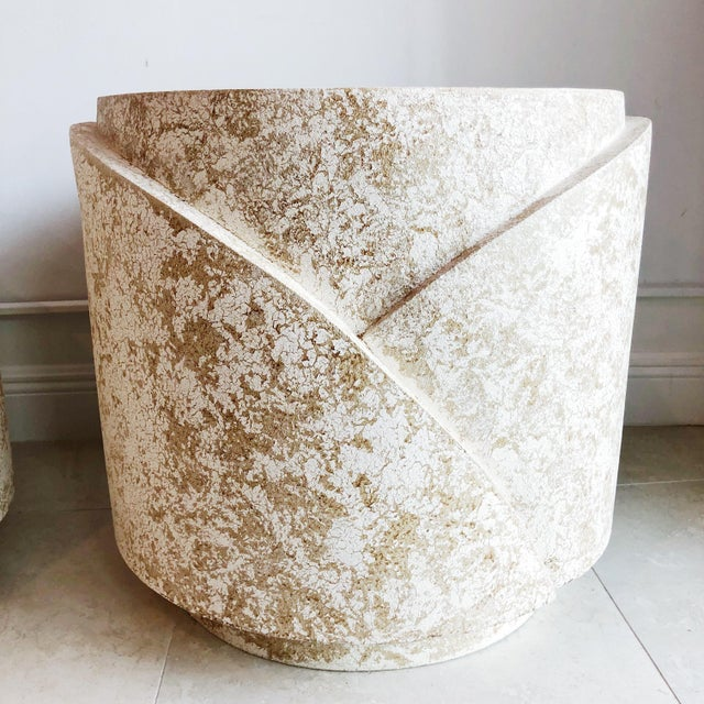 1980s Vintage Sculptural Textured Plaster Cylindrical Pedestal Tables - a Pair For Sale - Image 5 of 9