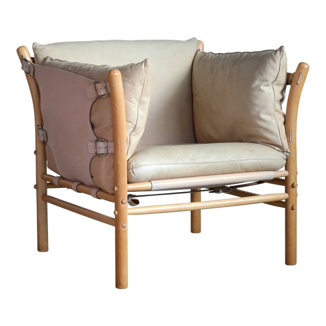 Arne Norell Safari 1960s Chair Model Ilona in Cream and Tan Leather For Sale