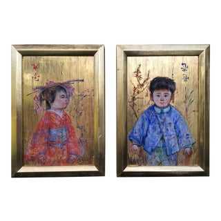 Original Portraits of Children Oil Paintings on Gold Board by Edna Hibel- a Pair For Sale