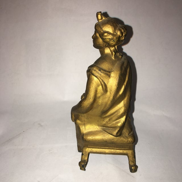 Classical Lady & Harp Clock Top Figure - Image 5 of 9