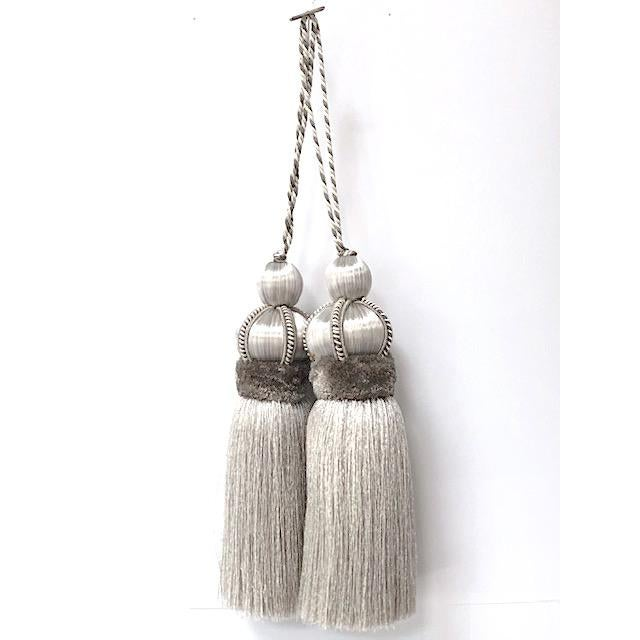Silver Key Tassels With Cut Ruche - a Pair For Sale - Image 11 of 11