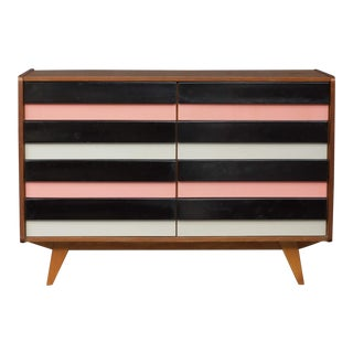 1960s Mid-Century Modern Jiri Jiroutek Black White and Pink Chest of Drawers For Sale