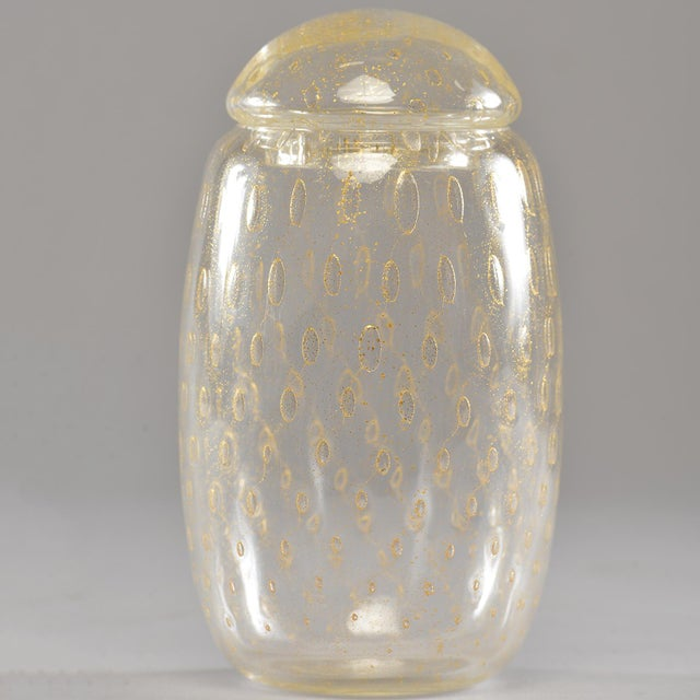 Mid-Century Murano Glass With Gold Inclusions Lidded Vessel For Sale - Image 4 of 8