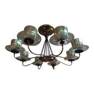 Large Mid-Century Modern Gerald Thurston for Lightolier Brass, Iron and Glass Chandelier For Sale