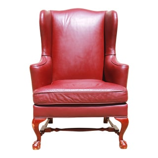 Baker Furniture Leather Wingback Chair For Sale