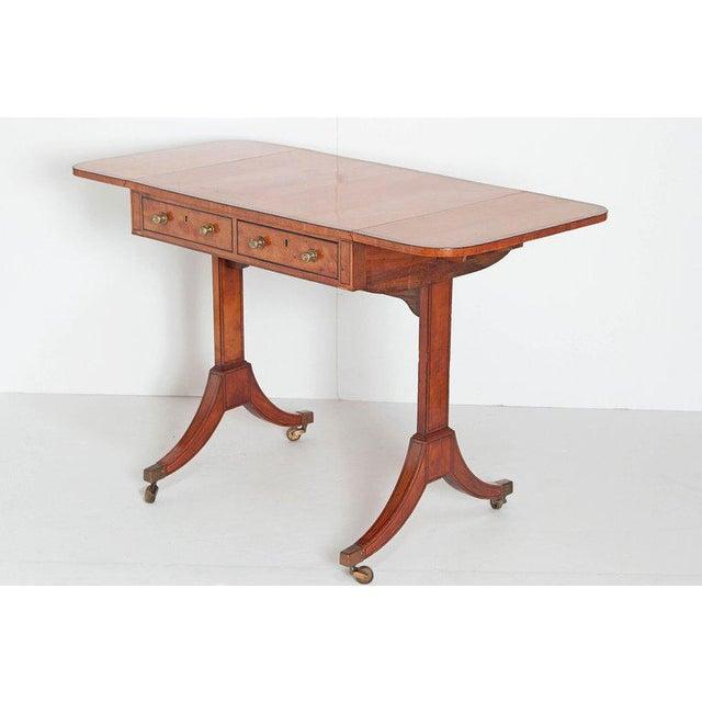 Hollywood Regency English Regency Satinwood Sofa Table For Sale - Image 3 of 13