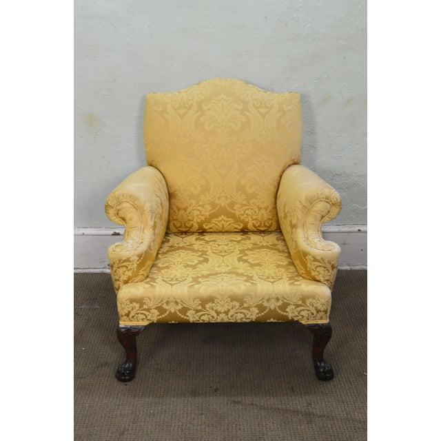 Georgian Style Custom Carved Mahogany Paw Foot Lounge Chair Bergere For Sale - Image 9 of 12
