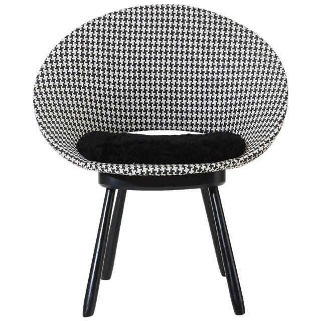 Swedish Chair 1950s Houndstooth Pattern With Sheepskin Seat Chairish