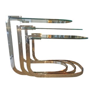 Mid Century Modern Design Institute of America 'DIA' S / 3 Chrome & Glass Nesting Tables