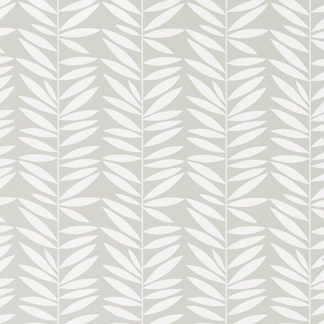 Mid-Century Modern Schumacher Leaf Stripe Wallpaper in Mist For Sale - Image 3 of 3