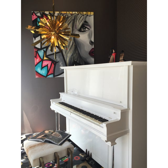 Vintage Lacquered White Piano - Image 7 of 10