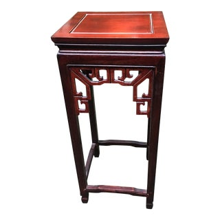 1950s Chinoiserie Mahogany Plant Stand For Sale