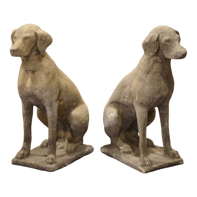 Large French Carved Stone Verdigris Patinated Labrador Dog Sculptures - a Pair For Sale