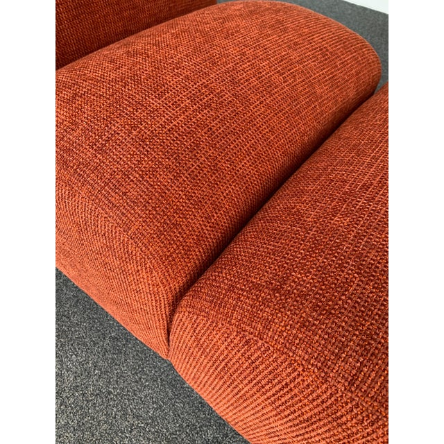 Rare pair of slipper chairs armchairs by Emilio Guarnacci for the editor 1P Industria chimica per l'arredamento. New...