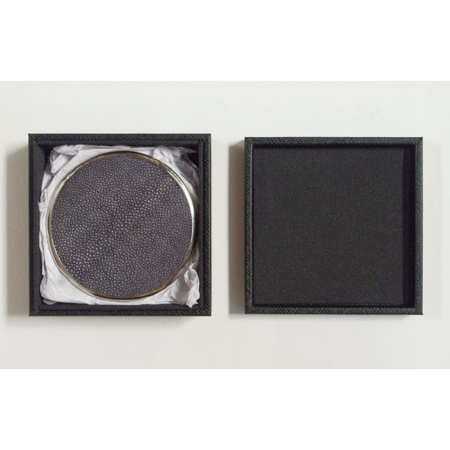 Italian black shagreen and nickel-plated coasters with matching black leather box by Fabio Bergomi / Made in Italy Coaster...