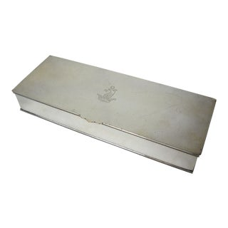 Armorial Crest Silverplate Cigarette Box For Sale
