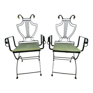1930's Vintage Samuel Copelon Neoclassical Iron & Brass Swan Folding Chairs- A Pair For Sale