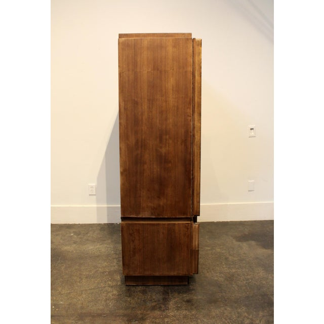 1970s Brutalist Wardrobe Chest on Chest in Natural Walnut, Brasilia Style For Sale In Dallas - Image 6 of 12