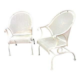 Salterini Wrought Iron Outdoor Lounge Chairs- a Pair For Sale