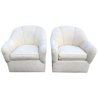 Pair of Ethan Allen Linen Swivel Club Chairs For Sale