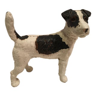 1940s Folk Art Bradley Hubbard Cast Iron Fox Terrier Dog Door Stop