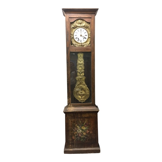 Antique French Hand Painted Brass Repoussé Grandfather Clock For Sale