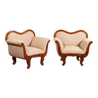 19th Century -Scale Swedish Wooden Club Chairs - a Pair For Sale