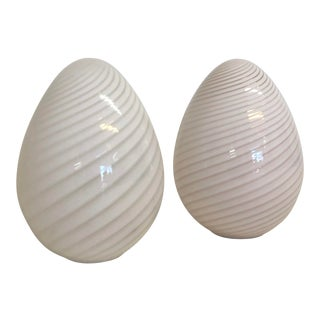 Large Mid Century Modern Murano Egg Floor or Table Lamps by Vetri 2 Available For Sale