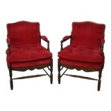 Image of French Country Fauteuils Arm Chairs - A Pair For Sale
