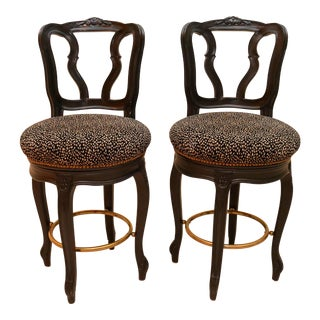 I.P.F. International Painted Black Swivel Bar Stools- A Pair For Sale