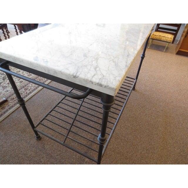 Marble Top Metal Base Kitchen Island - Image 9 of 9