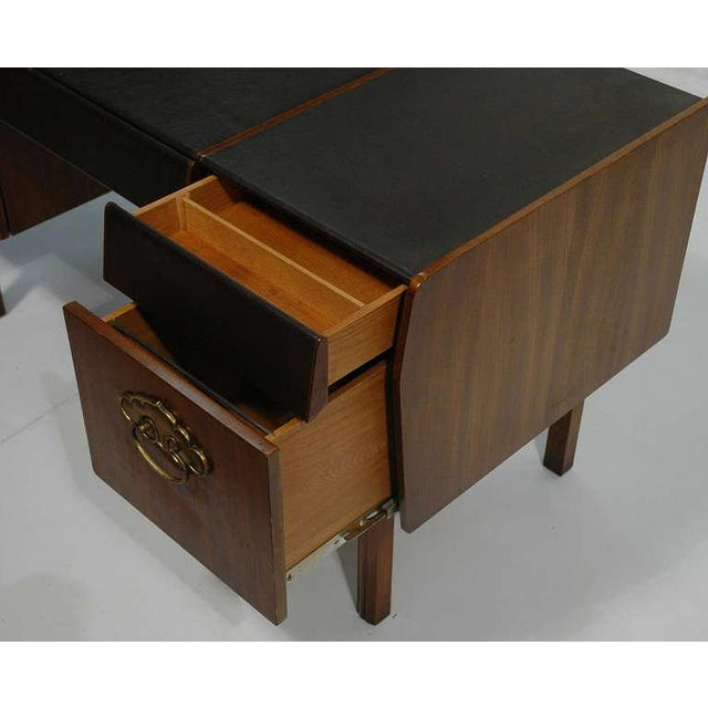 Mid-Century Modern Mid-Century Modern Desk by Bert England for Widdicomb in Leather, Walnut and Bronze For Sale - Image 3 of 10