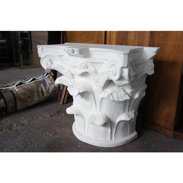 Mixed-Media Spanish Michael Taylor Designs Faux Stone Console Table For Sale - Image 7 of 11