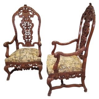Late 19th Century Louis XV Renaissance Style Walnut Arm Chairs- A Pair For Sale