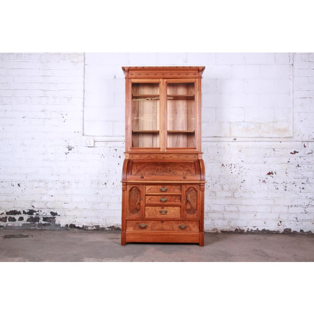 19th Century Eastlake Victorian Carved Walnut and Burl Wood Cylinder Desk With Glass Front Bookcase For Sale - Image 13 of 13