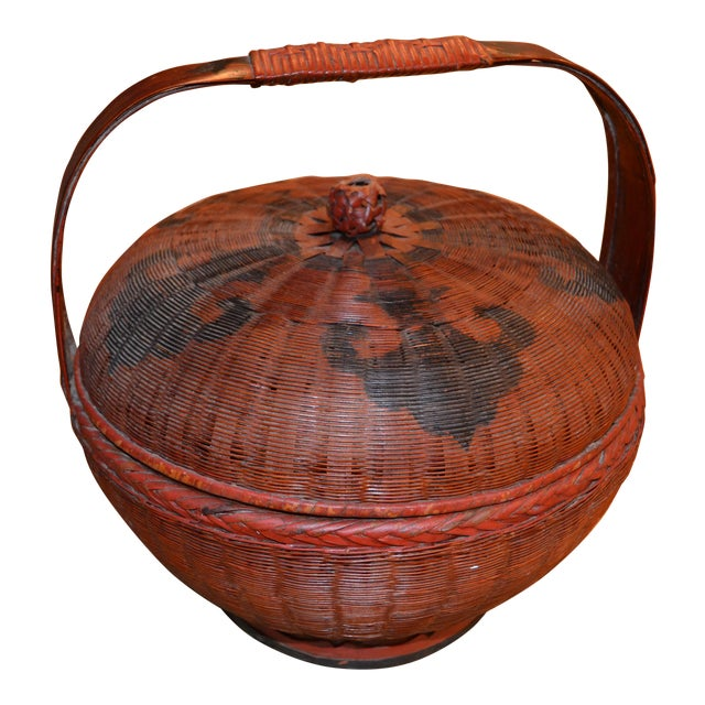Vintage Chinese Sewing Basket For Sale