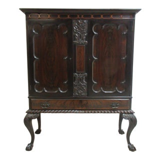 Antique Mahogany Ball & Claw Chippendale China Cabinet