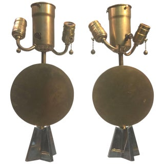 Pair of Art Deco Bronze Cubist Lamps For Sale