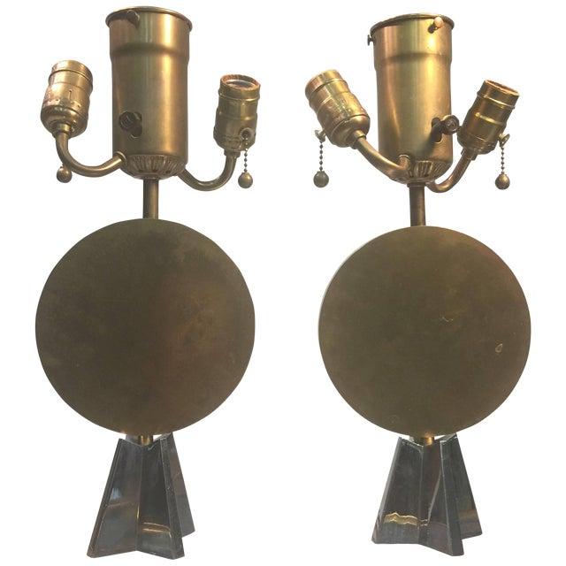 Pair of Art Deco Bronze Cubist Lamps For Sale