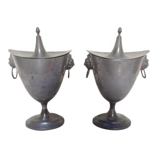 Antique Pewter Chestnut Urns - A Pair For Sale