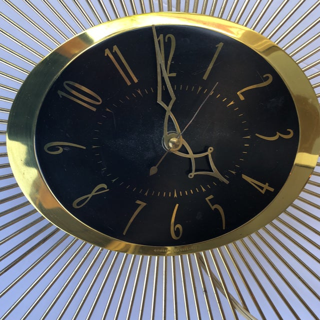 1950s General Electric Sunburst Wall Clock For Sale In Miami - Image 6 of 8