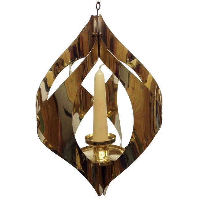 Hollywood Regency Brass Candle Pendant Light - Image 1 of 6