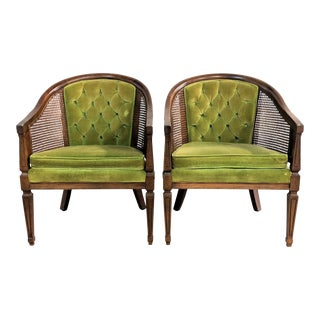 1970s Vintage Dark Wood Cane Accent Chairs- A Pair For Sale