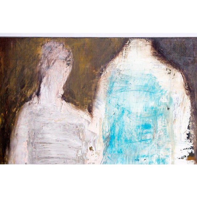 "Gray Abstract & Figurative Oil on Board by Brigitte McReynolds, ""Couple in the Blue"" For Sale - Image 8 of 13"