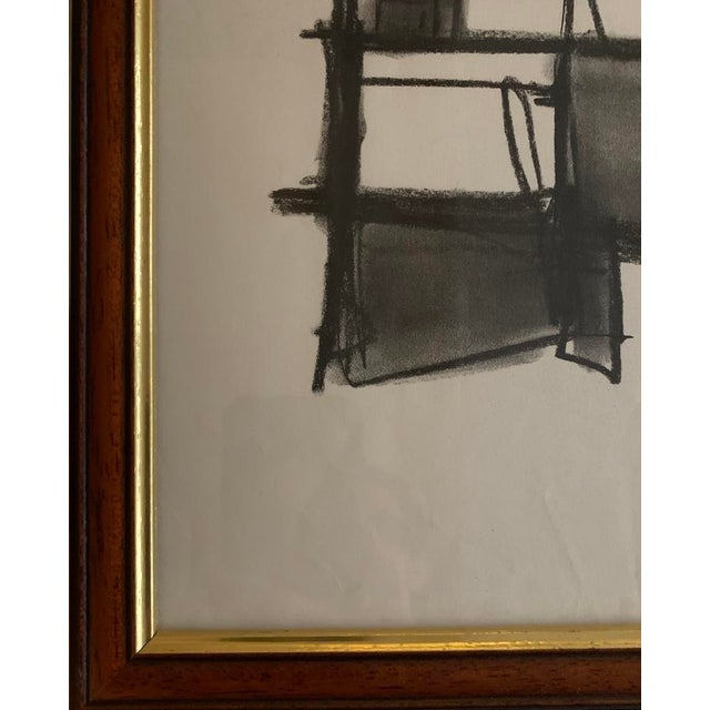 Abstract Original Abstract Charcoal Framed Drawing For Sale - Image 3 of 3