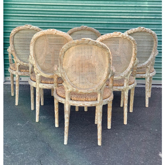 1970s 1960's Vintage Louis XVI Faux Bois Branch Form Cane Back Rush Seat Dining Chairs -Set of 6 For Sale - Image 5 of 13