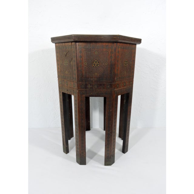 Mid 20th Century Old Morrocan Inlaid Mother of Pearl, Bone & Multi Wood Octagonal Occasional Side Table For Sale - Image 5 of 13